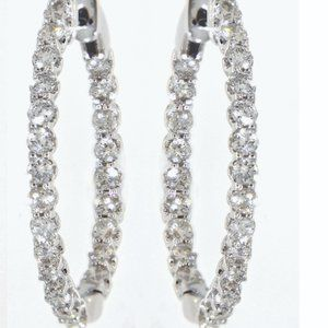 Solid Delicate Diamond Huggies Earrings White Gold